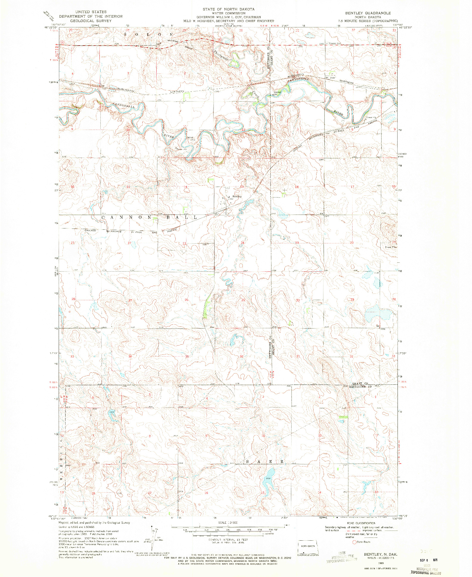 USGS 1:24000-SCALE QUADRANGLE FOR BENTLEY, ND 1969