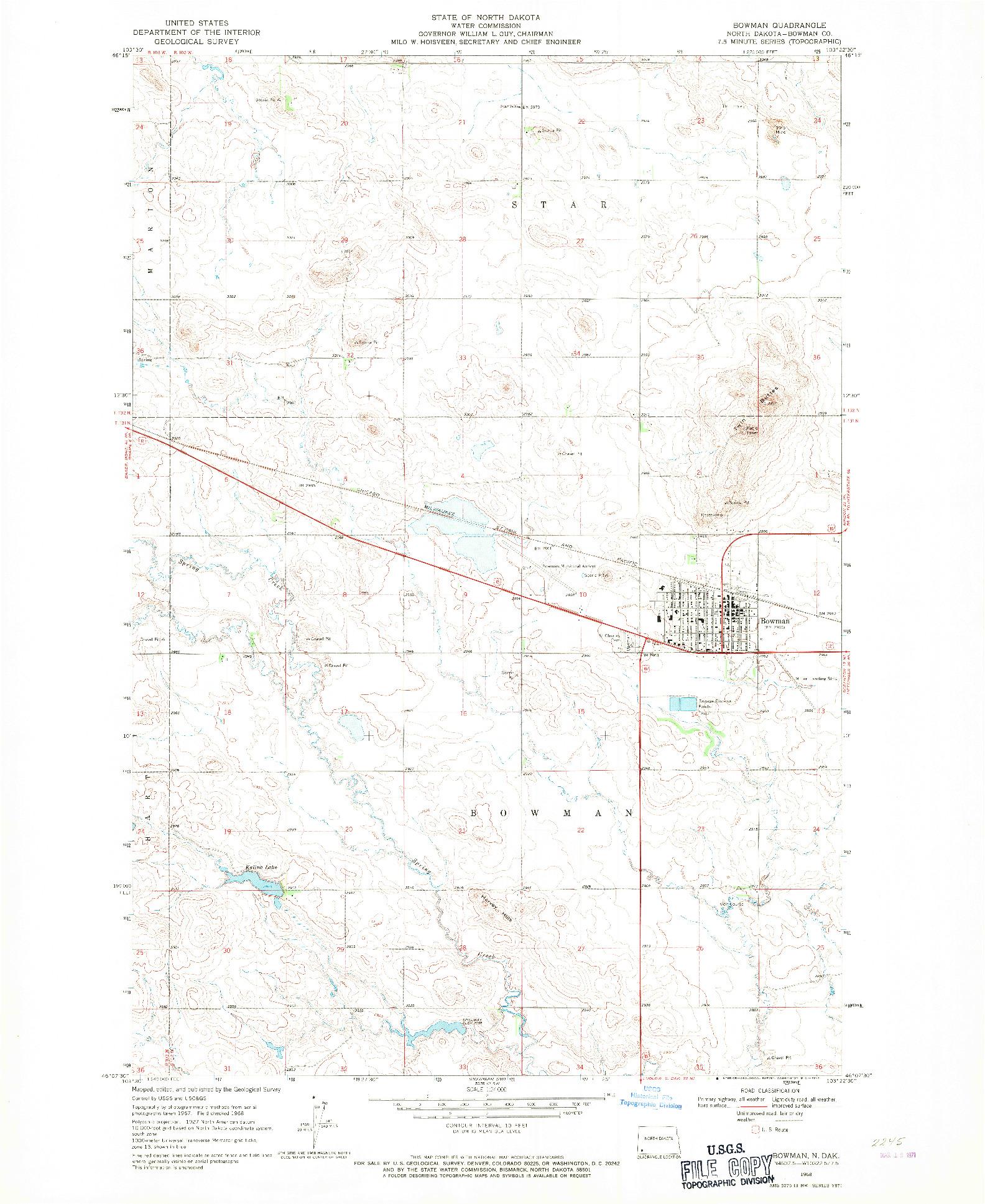 USGS 1:24000-SCALE QUADRANGLE FOR BOWMAN, ND 1968