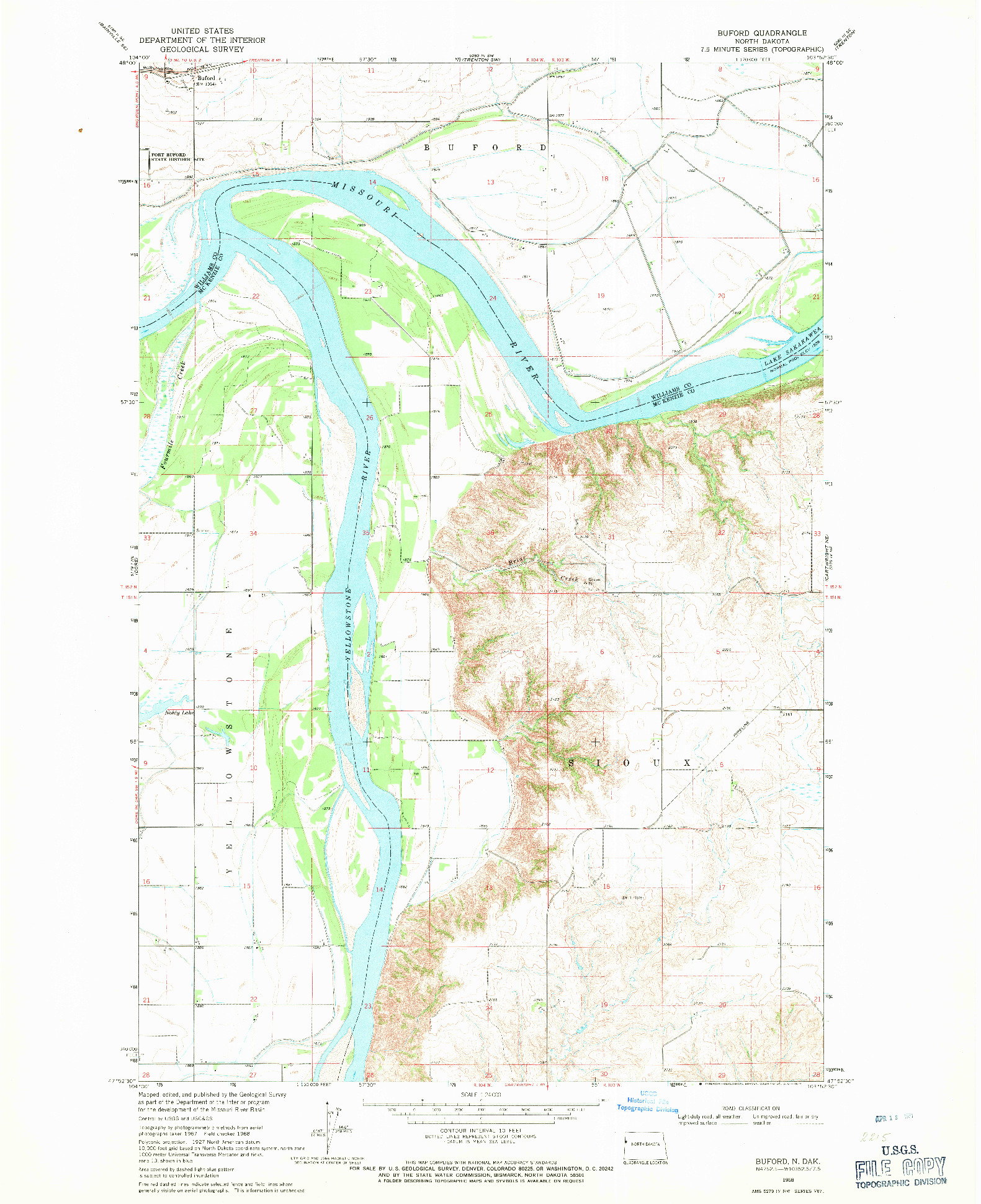 USGS 1:24000-SCALE QUADRANGLE FOR BUFORD, ND 1968