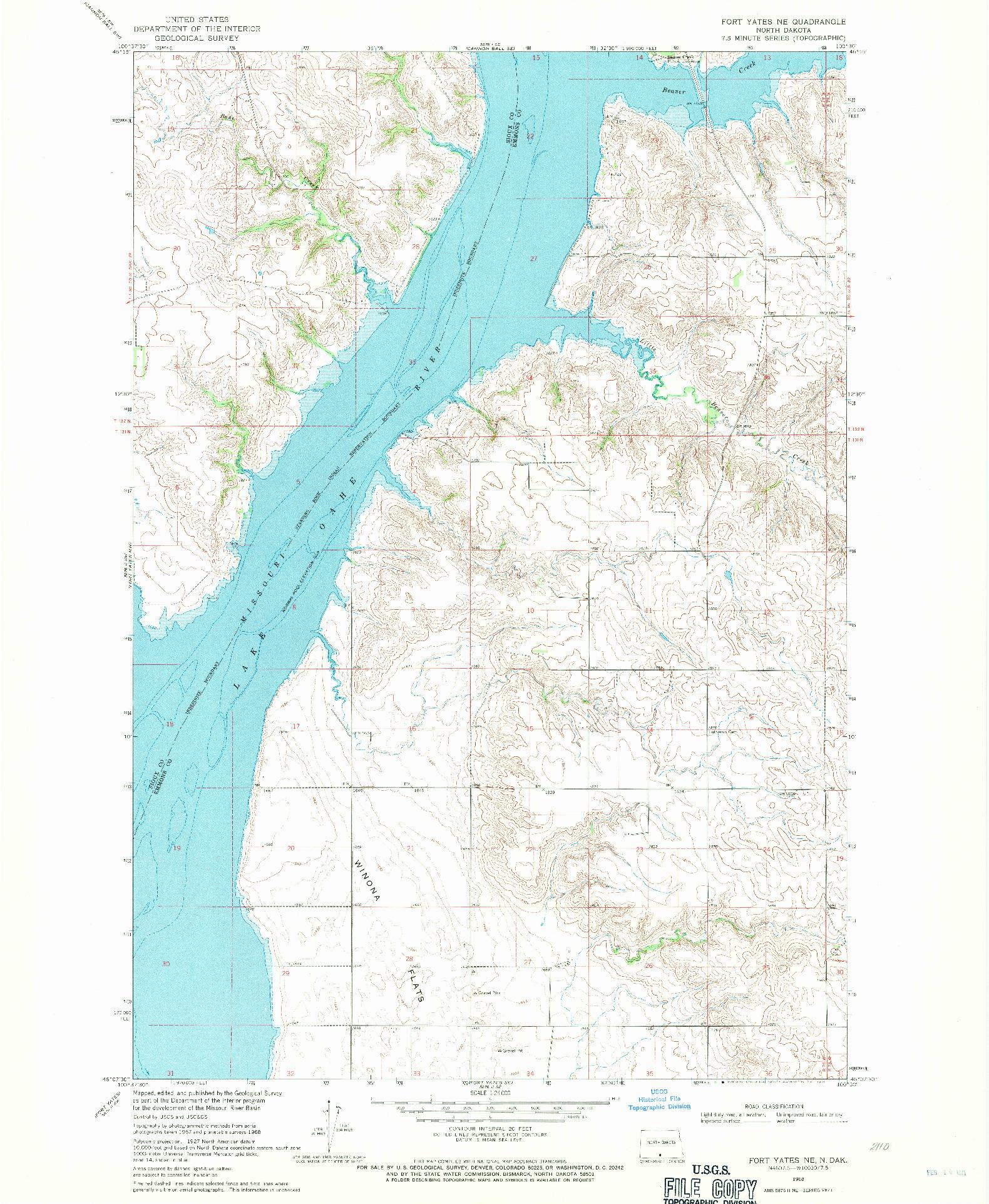 USGS 1:24000-SCALE QUADRANGLE FOR FORT YATES NE, ND 1968