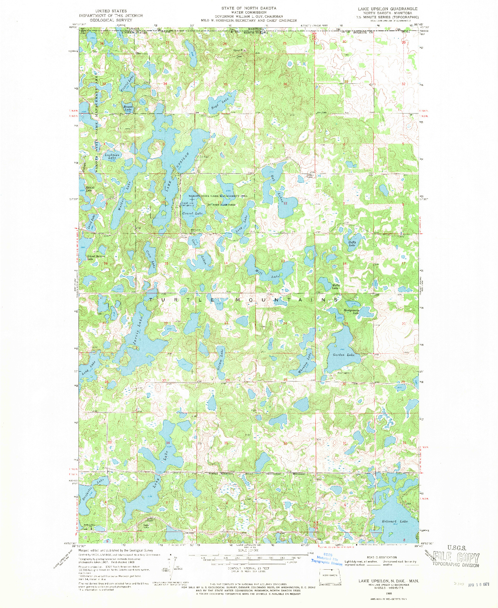 USGS 1:24000-SCALE QUADRANGLE FOR LAKE UPSILON, ND 1968