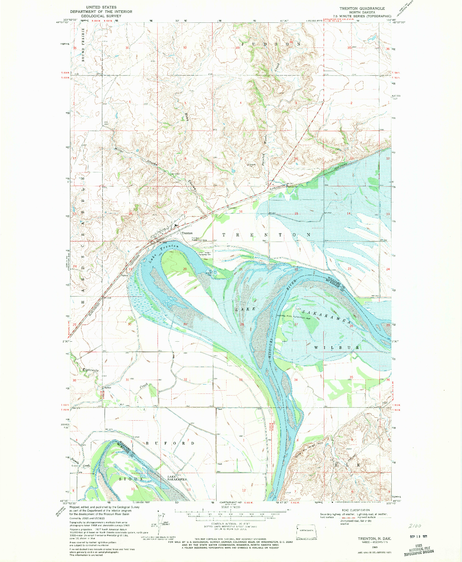 USGS 1:24000-SCALE QUADRANGLE FOR TRENTON, ND 1969