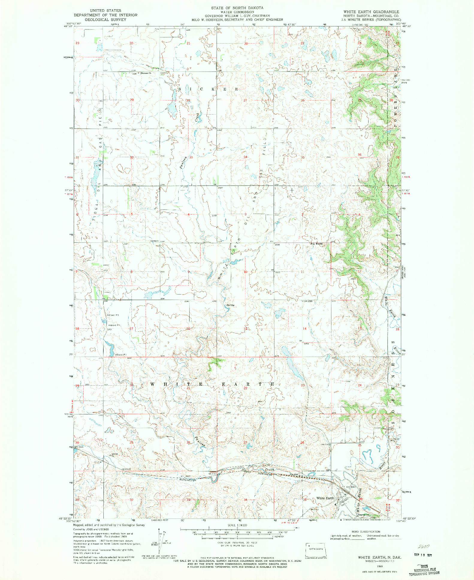 USGS 1:24000-SCALE QUADRANGLE FOR WHITE EARTH, ND 1969
