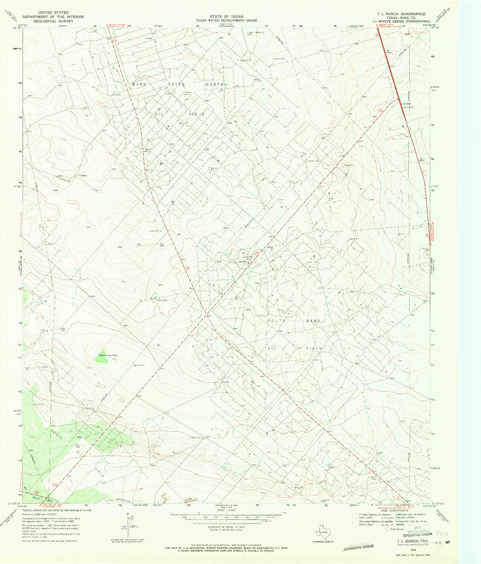 USGS 1:24000-SCALE QUADRANGLE FOR 7 L RANCH, TX 1969
