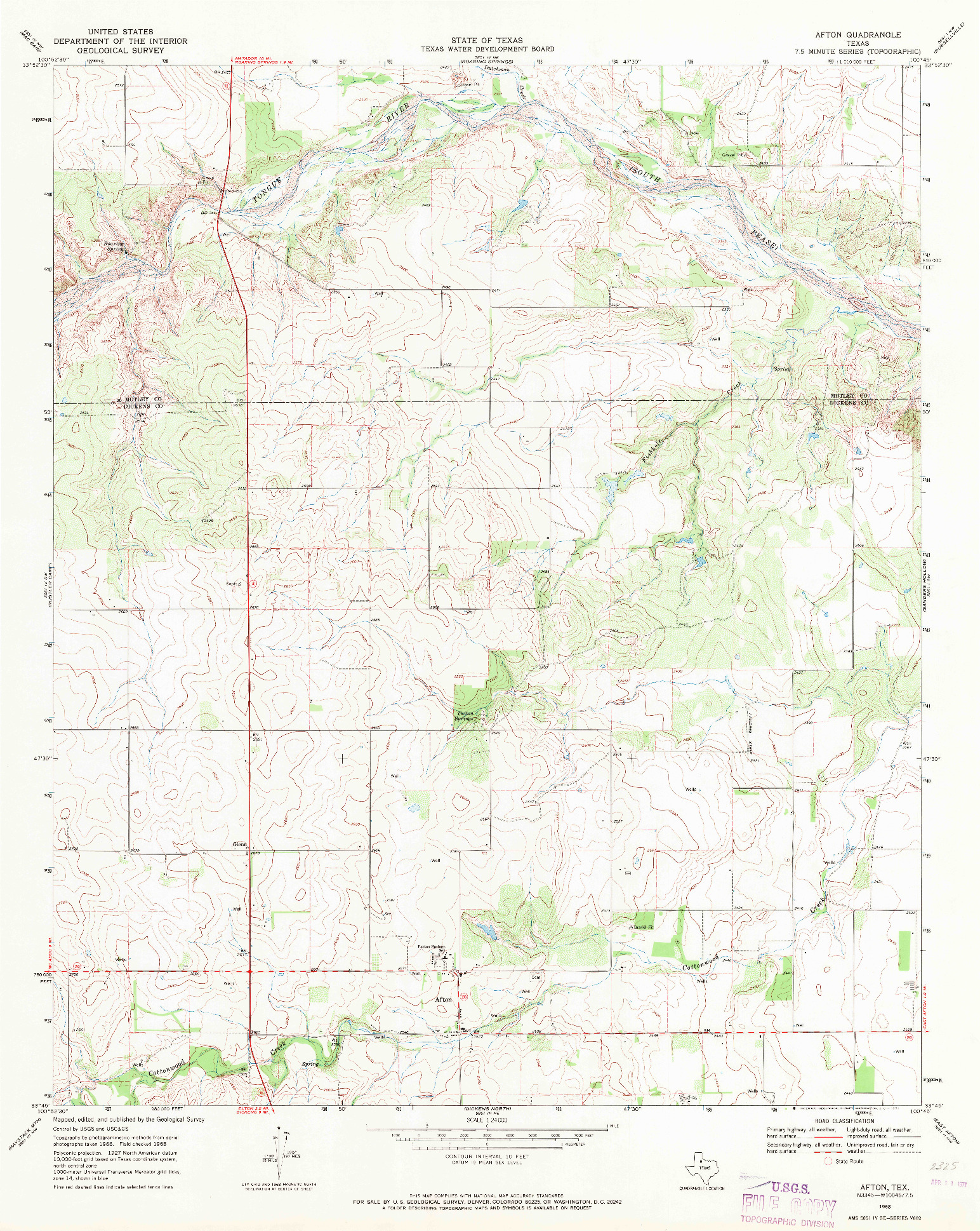 USGS 1:24000-SCALE QUADRANGLE FOR AFTON, TX 1968