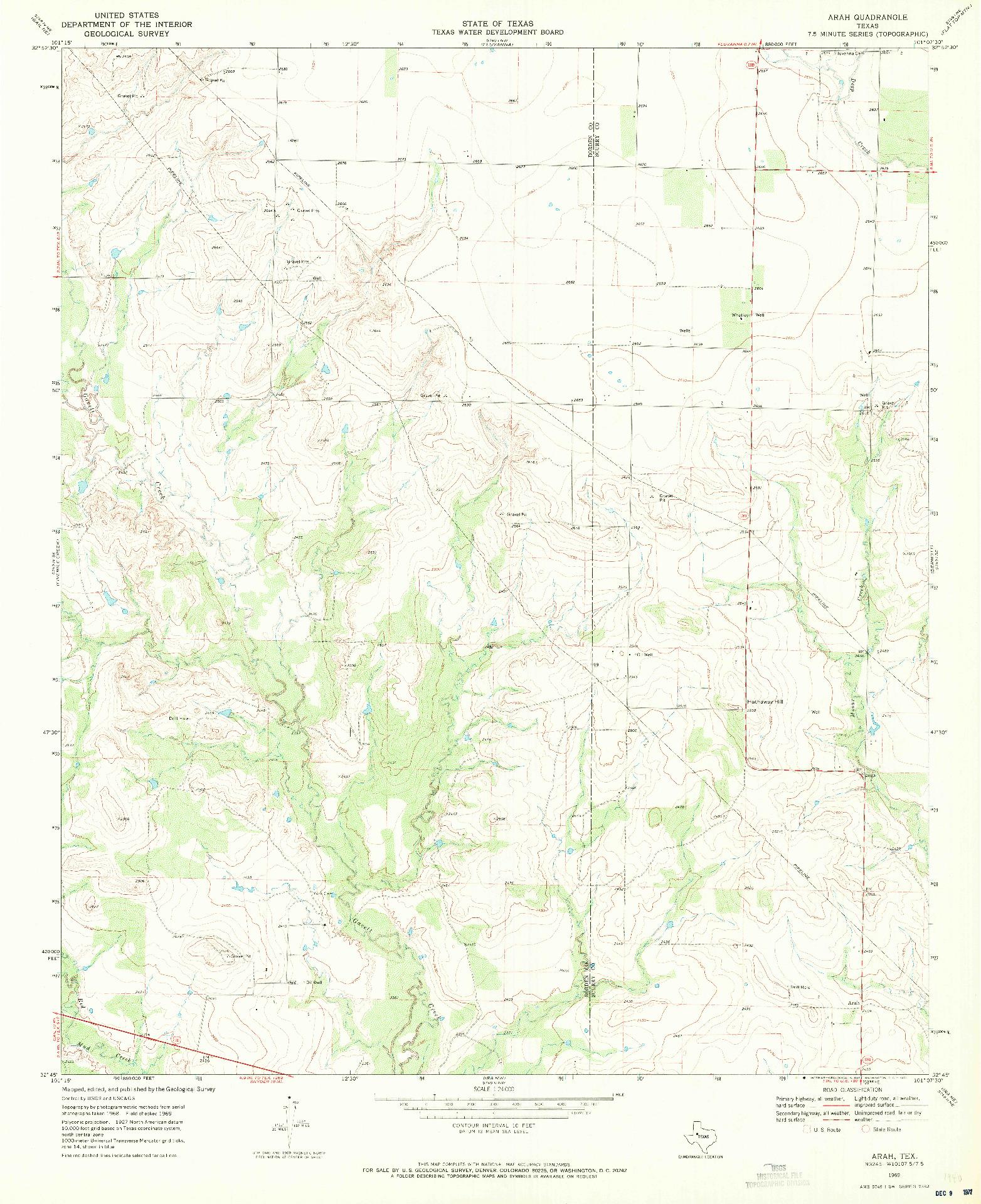 USGS 1:24000-SCALE QUADRANGLE FOR ARAH, TX 1969
