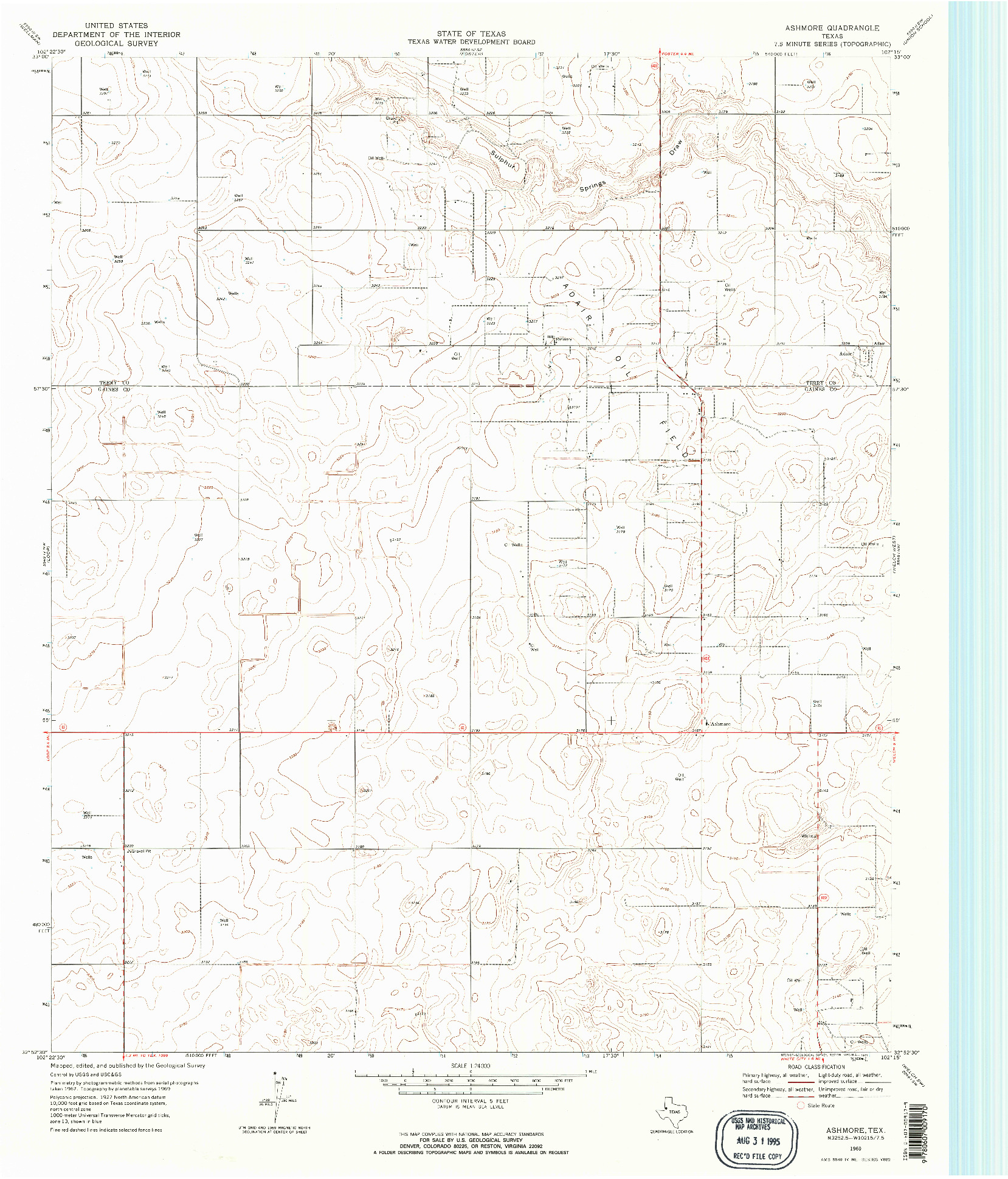 USGS 1:24000-SCALE QUADRANGLE FOR ASHMORE, TX 1969