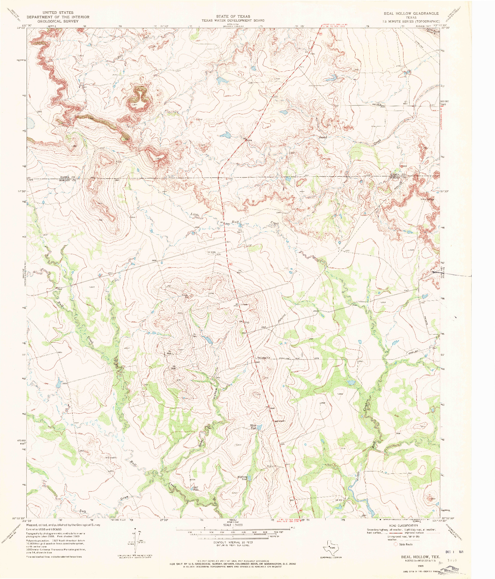 USGS 1:24000-SCALE QUADRANGLE FOR BEAL HOLLOW, TX 1969