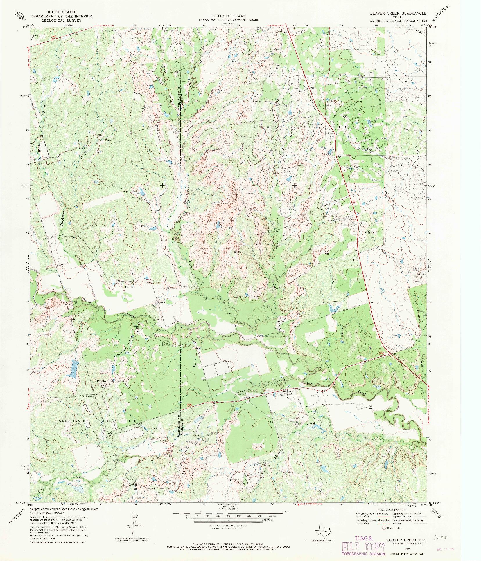 USGS 1:24000-SCALE QUADRANGLE FOR BEAVER CREEK, TX 1968