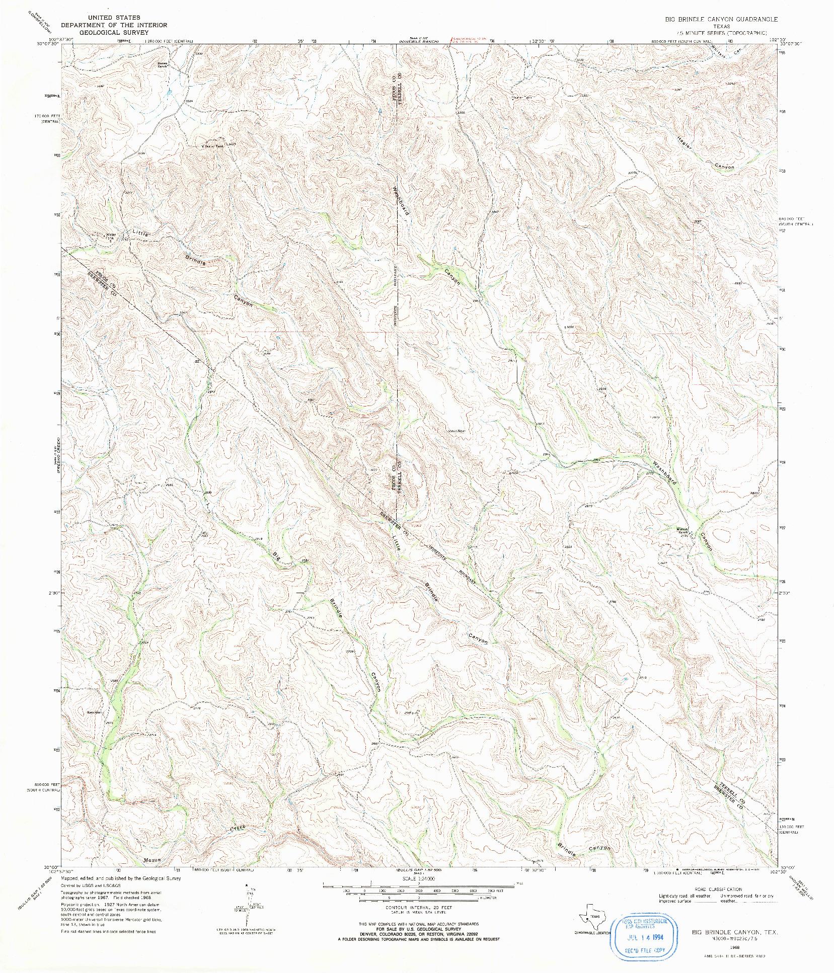 USGS 1:24000-SCALE QUADRANGLE FOR BIG BRINDLE CANYON, TX 1968