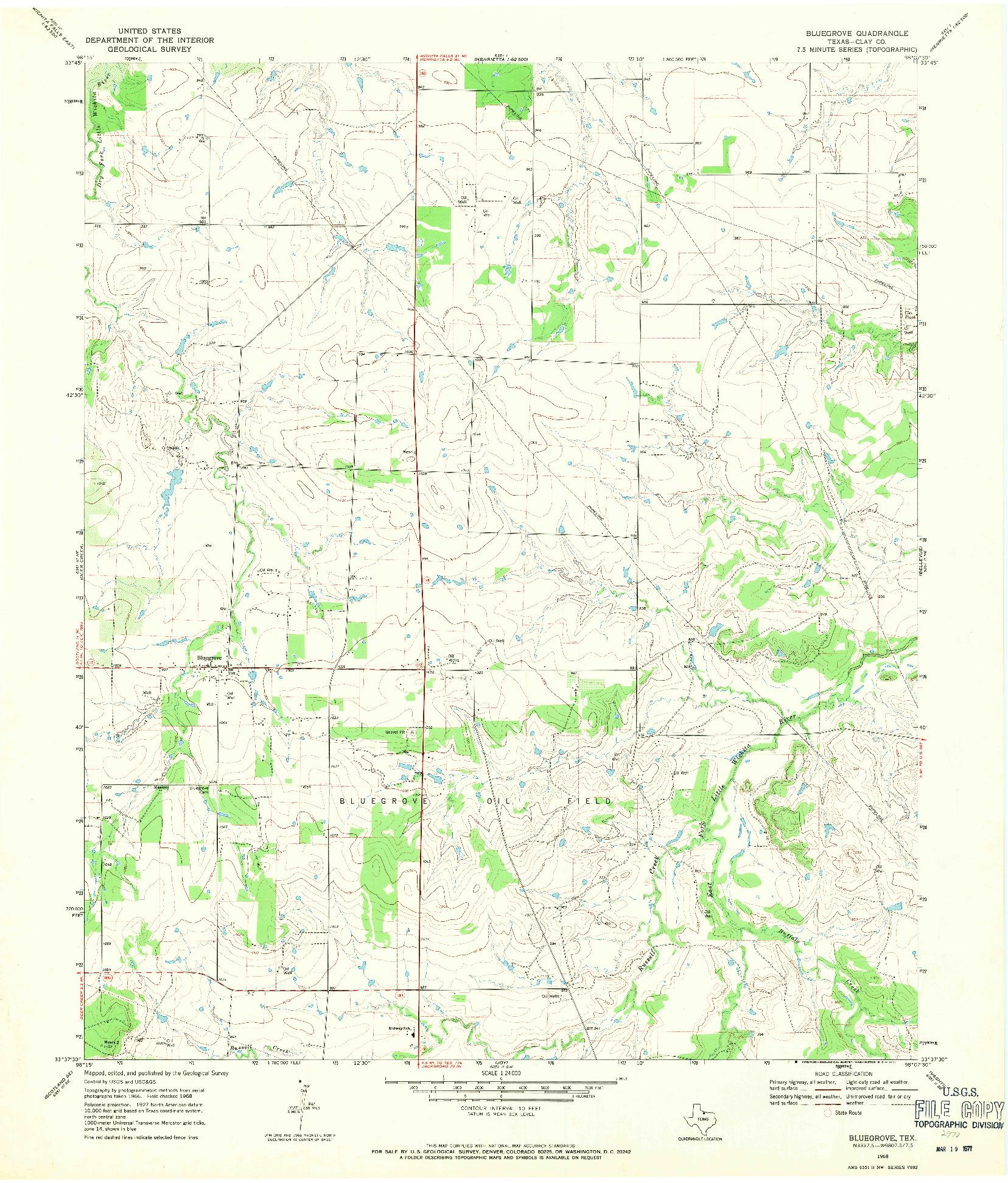 USGS 1:24000-SCALE QUADRANGLE FOR BLUEGROVE, TX 1968