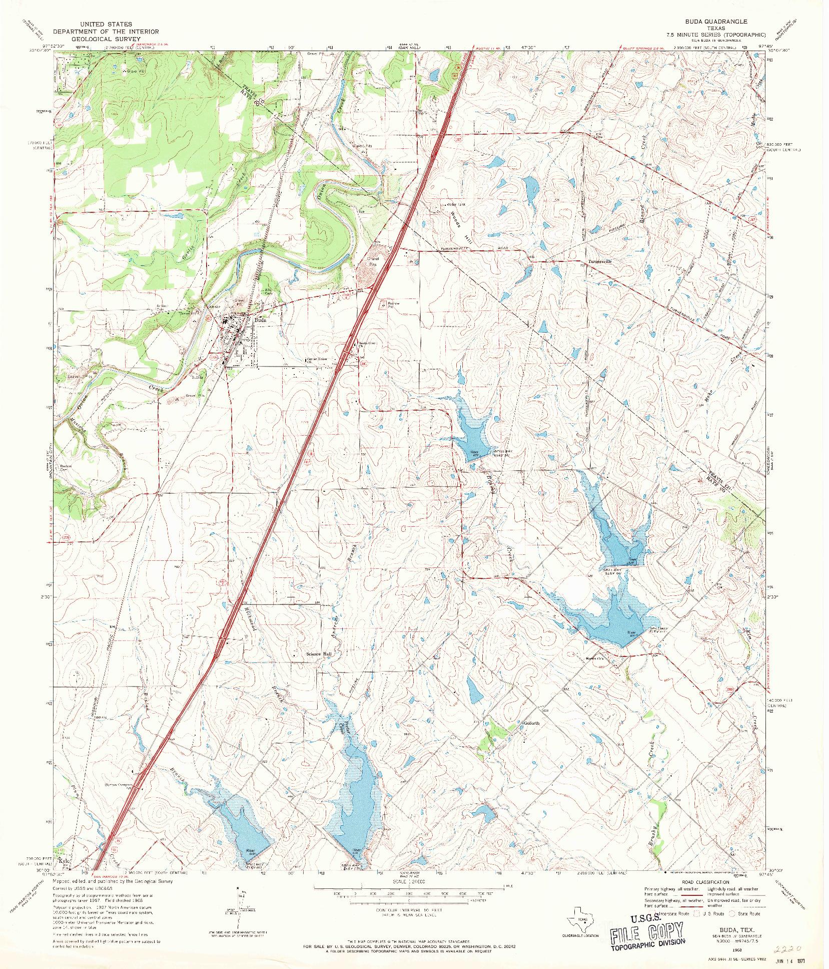 USGS 1:24000-SCALE QUADRANGLE FOR BUDA, TX 1968