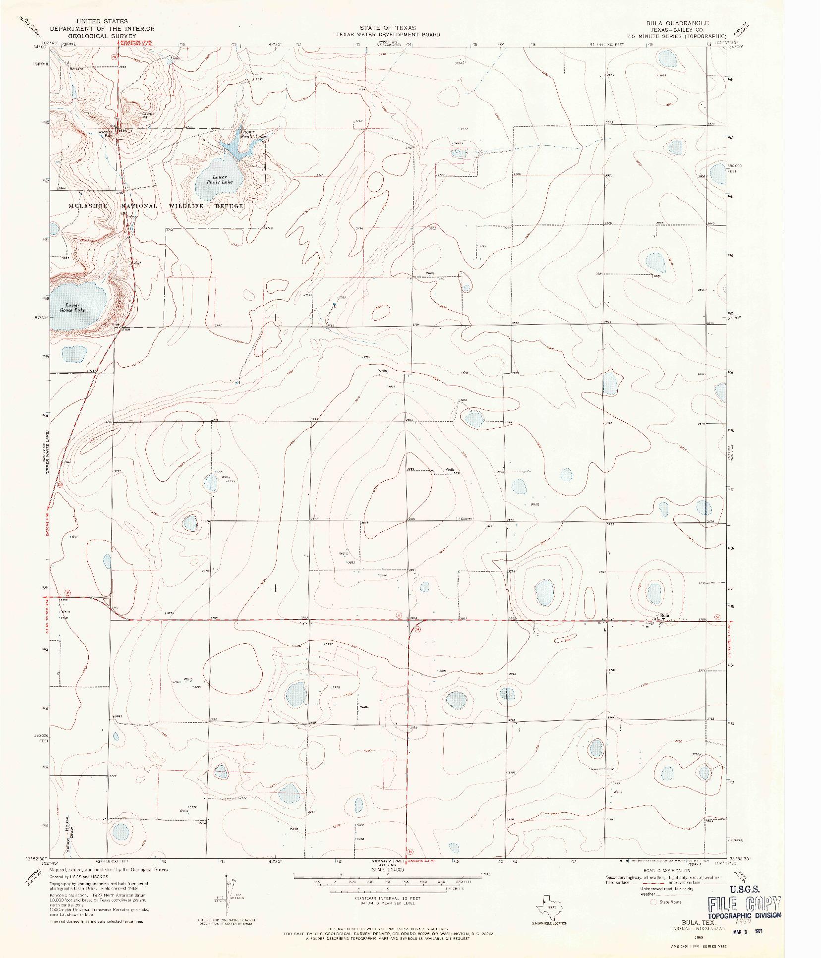 USGS 1:24000-SCALE QUADRANGLE FOR BULA, TX 1968