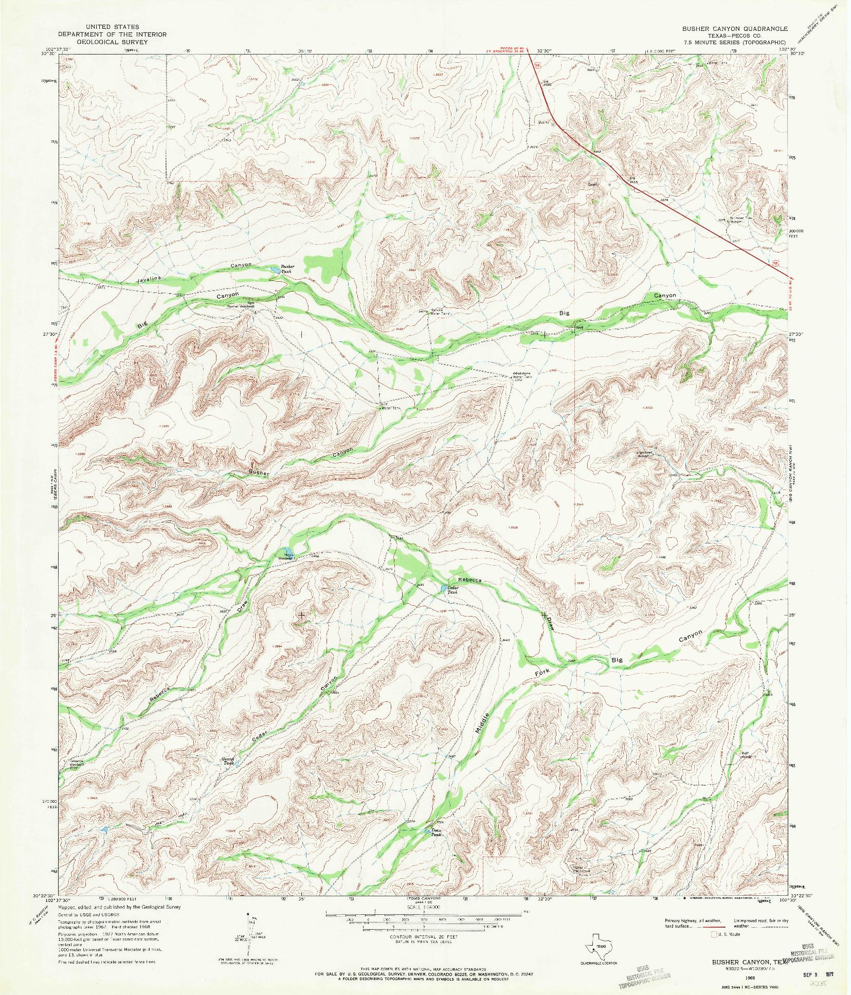 USGS 1:24000-SCALE QUADRANGLE FOR BUSHER CANYON, TX 1968