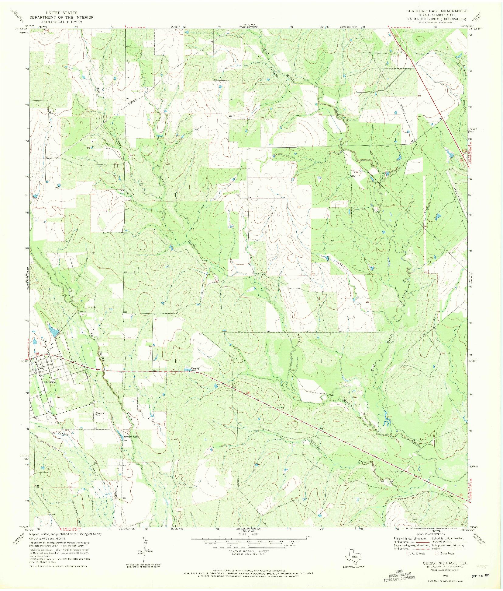 USGS 1:24000-SCALE QUADRANGLE FOR CHRISTINE EAST, TX 1969