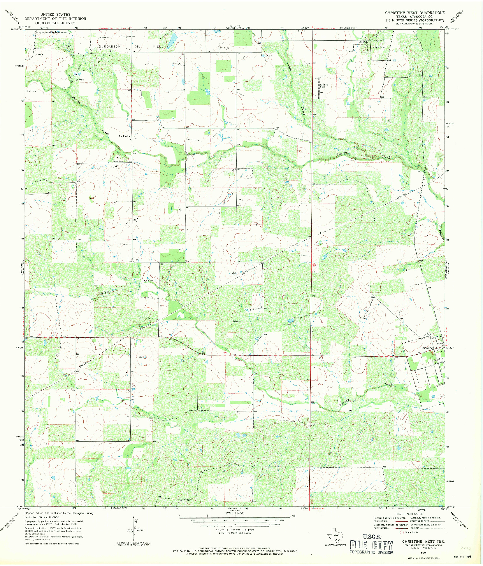 USGS 1:24000-SCALE QUADRANGLE FOR CHRISTINE WEST, TX 1968