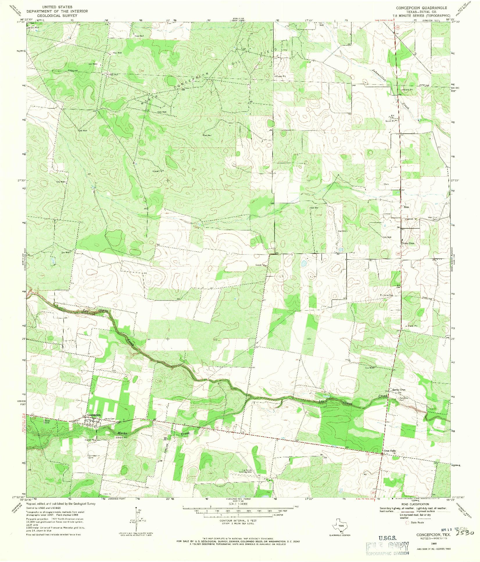 USGS 1:24000-SCALE QUADRANGLE FOR CONCEPCION, TX 1968