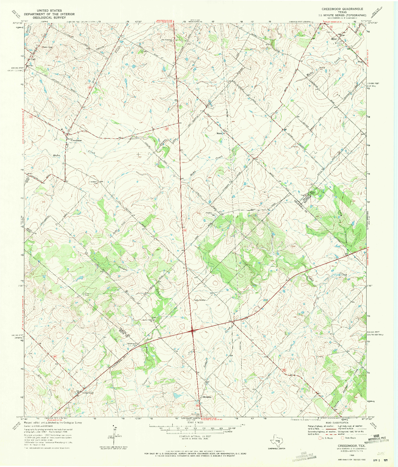 USGS 1:24000-SCALE QUADRANGLE FOR CREEDMOOR, TX 1968