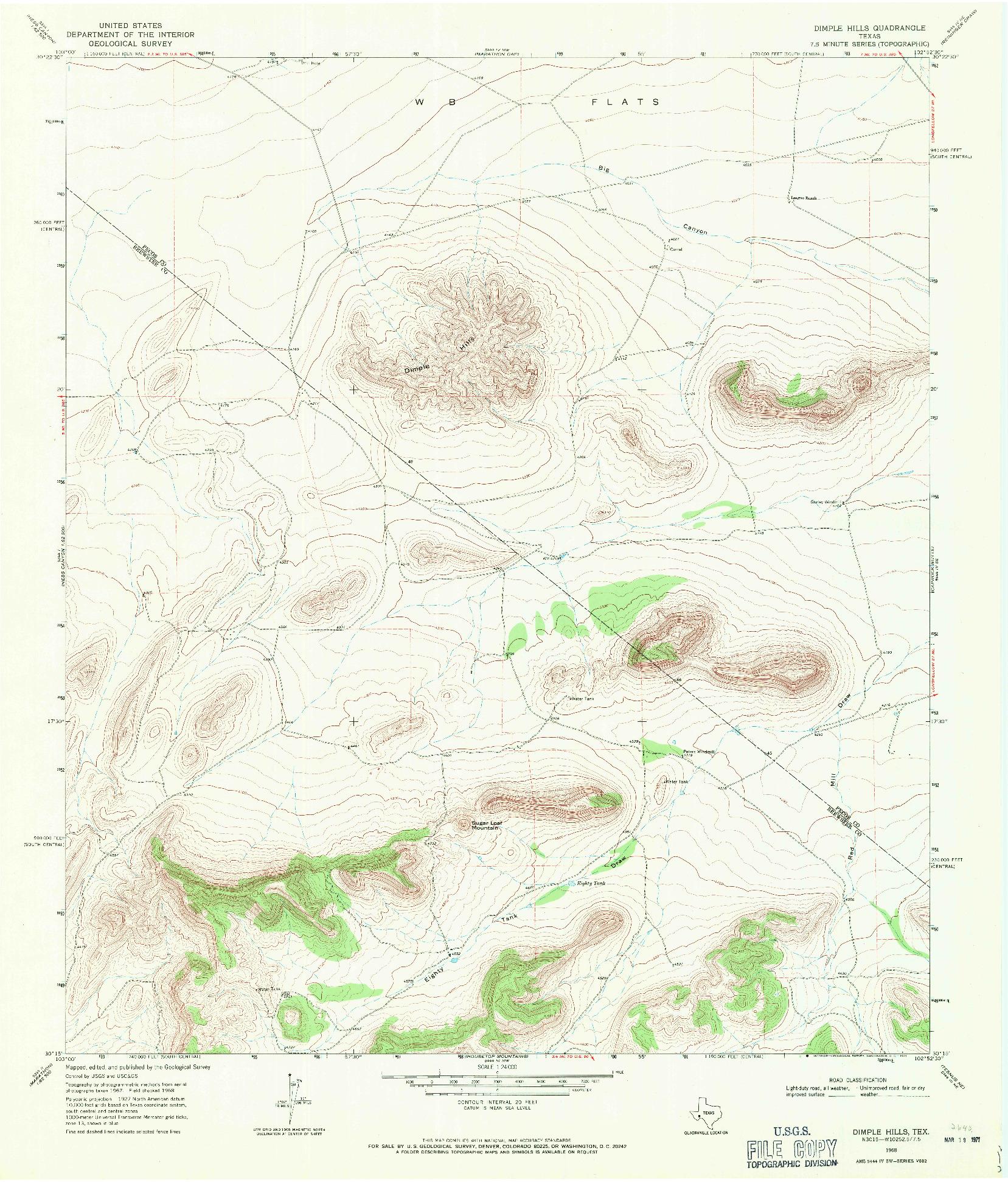 USGS 1:24000-SCALE QUADRANGLE FOR DIMPLE HILLS, TX 1968