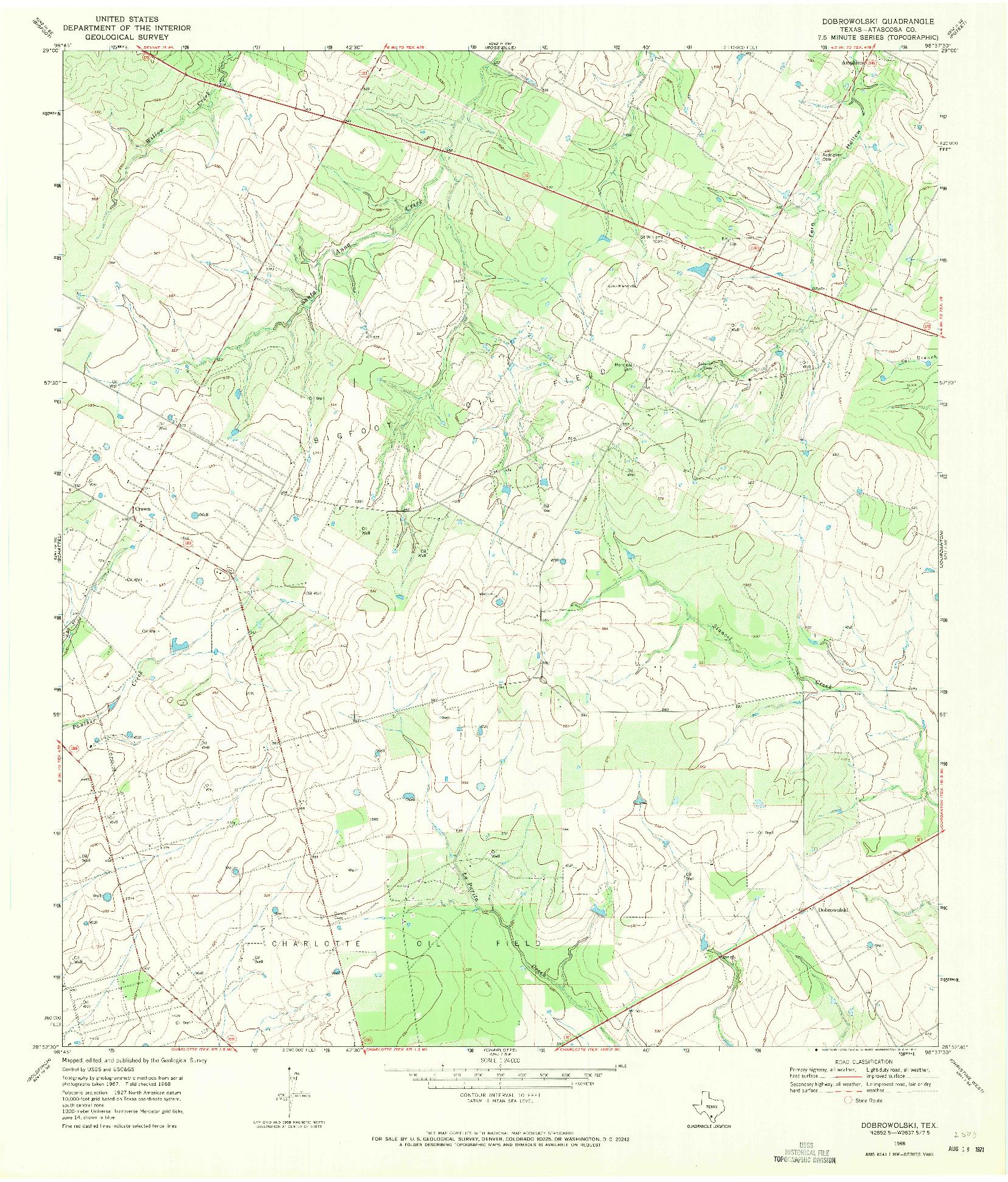 USGS 1:24000-SCALE QUADRANGLE FOR DOBROWOLSKI, TX 1968