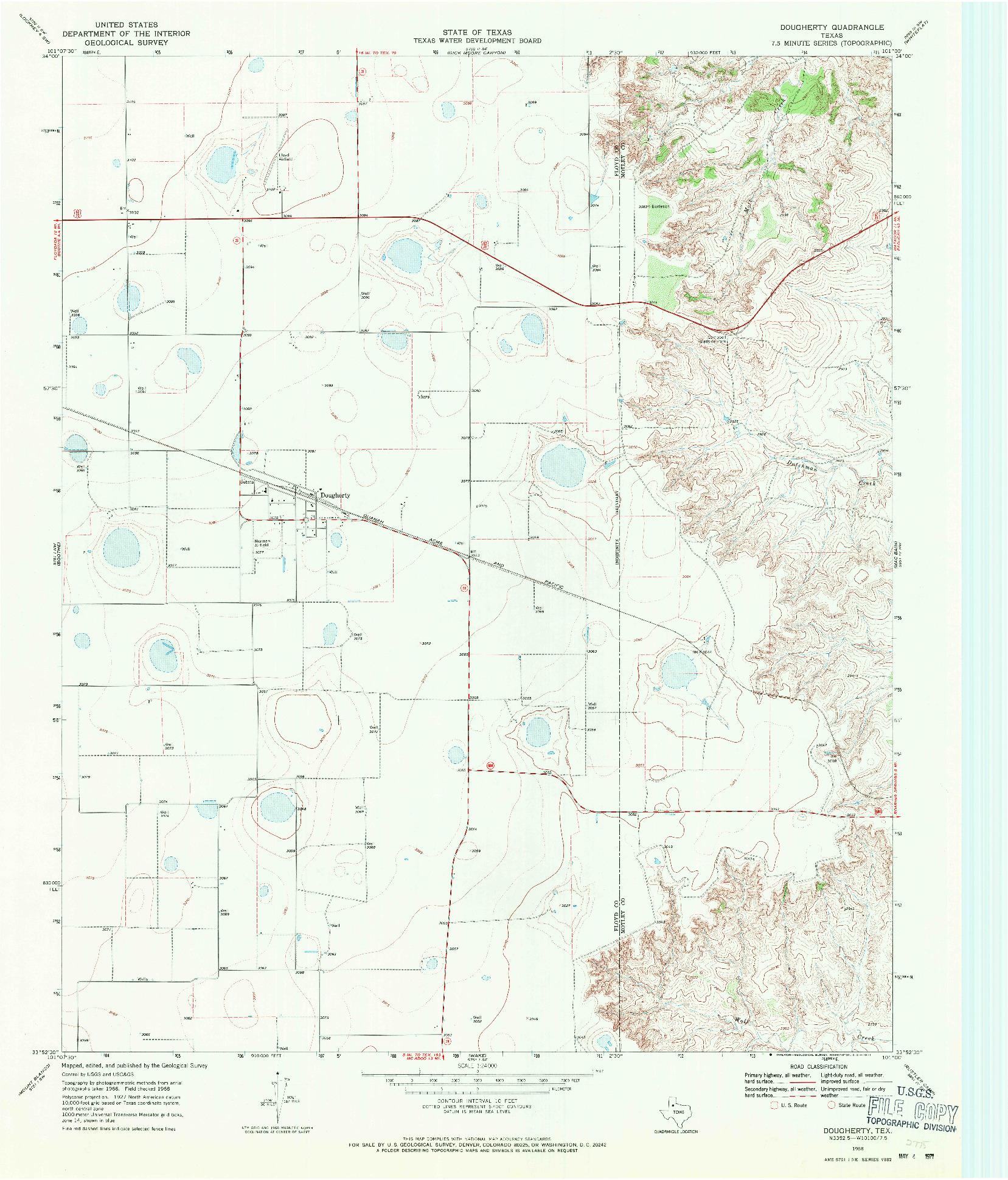 USGS 1:24000-SCALE QUADRANGLE FOR DOUGHERTY, TX 1968