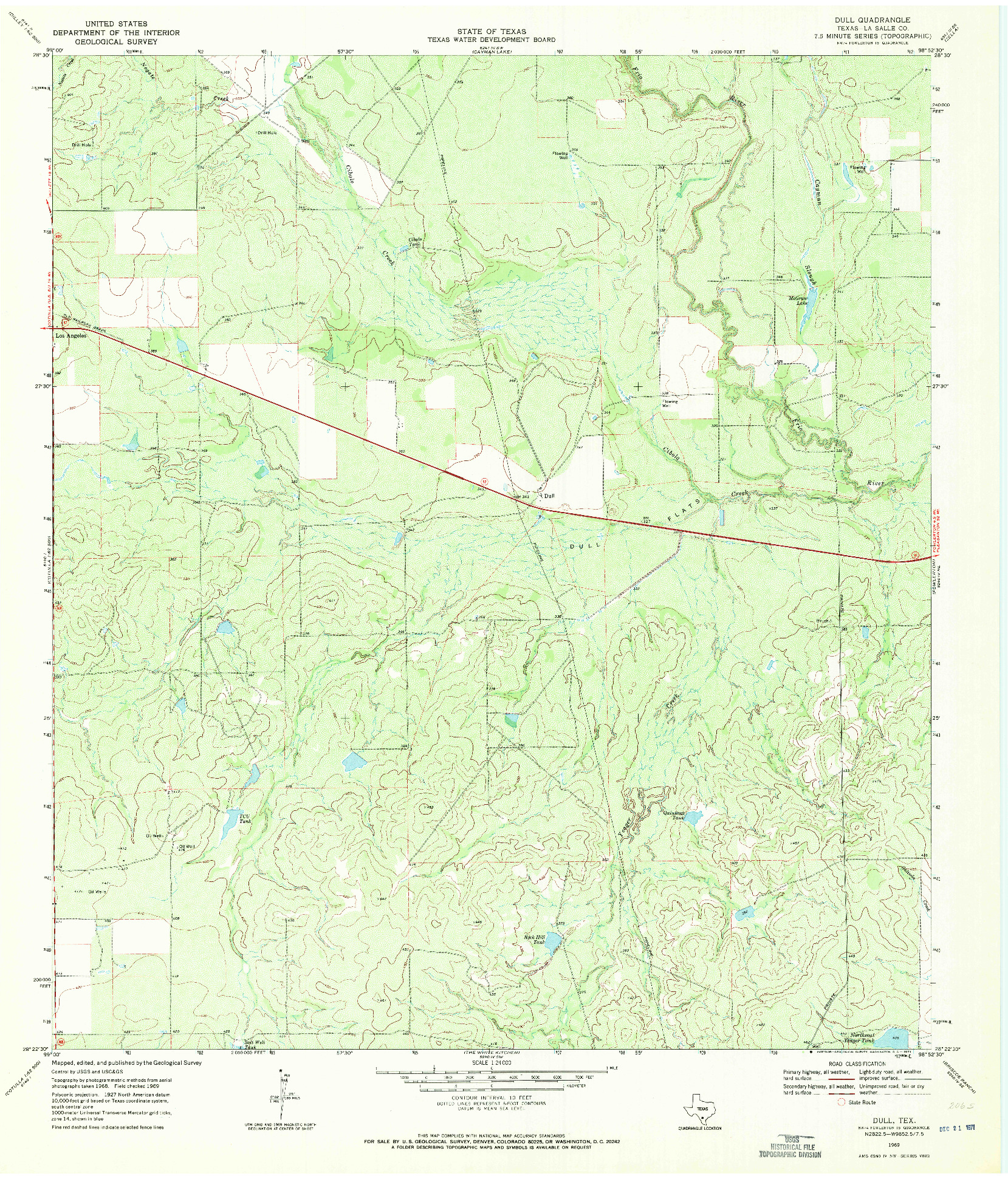 USGS 1:24000-SCALE QUADRANGLE FOR DULL, TX 1969