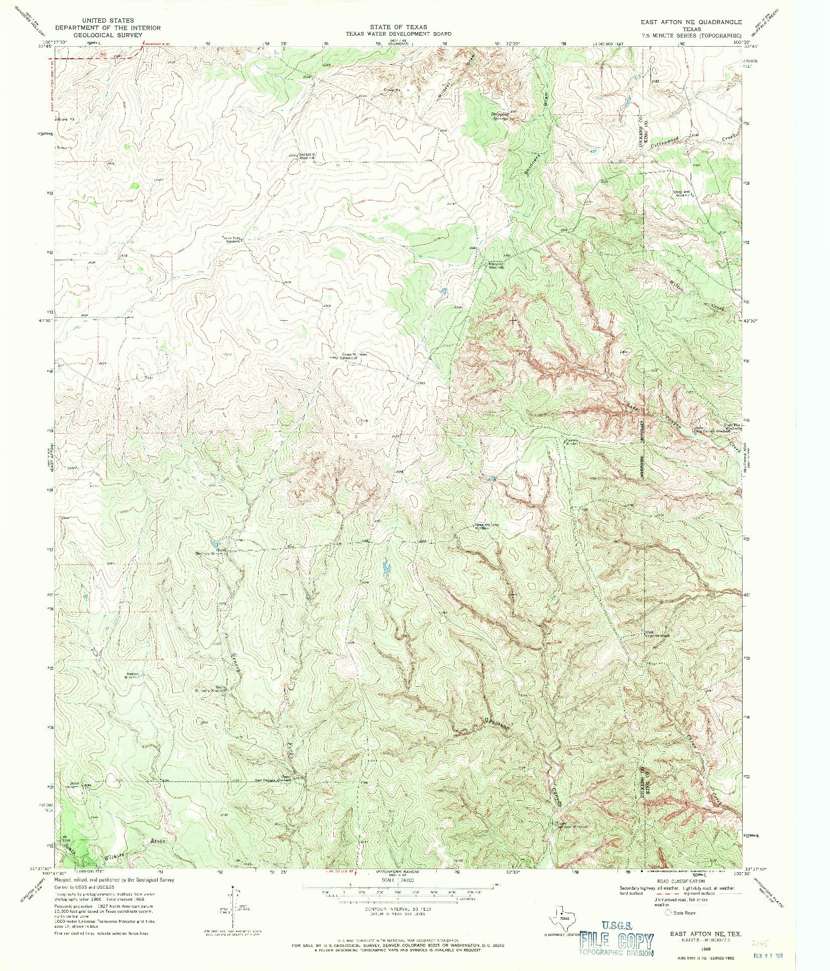 USGS 1:24000-SCALE QUADRANGLE FOR EAST AFTON NE, TX 1968