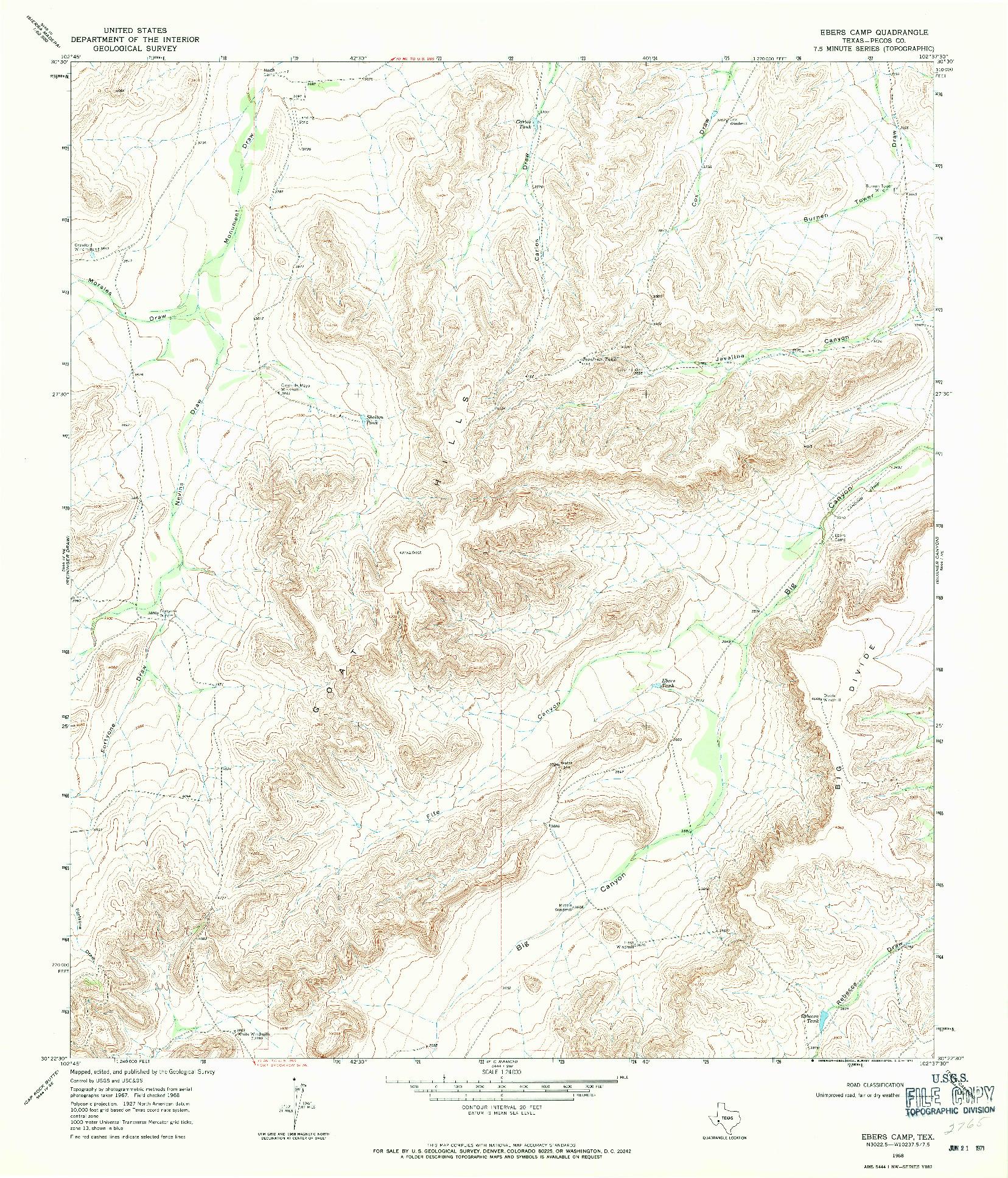 USGS 1:24000-SCALE QUADRANGLE FOR EBERS CAMP, TX 1968