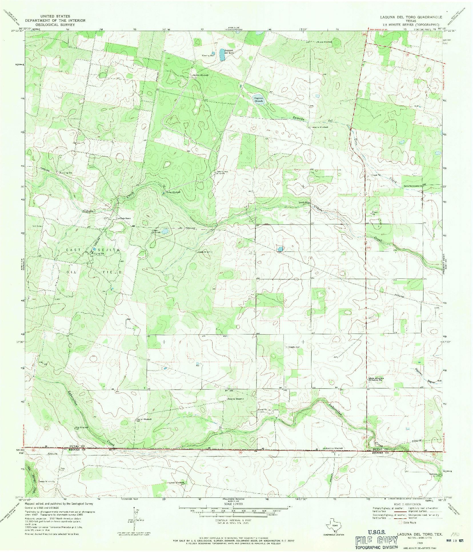 USGS 1:24000-SCALE QUADRANGLE FOR LAGUNA DEL TORO, TX 1969