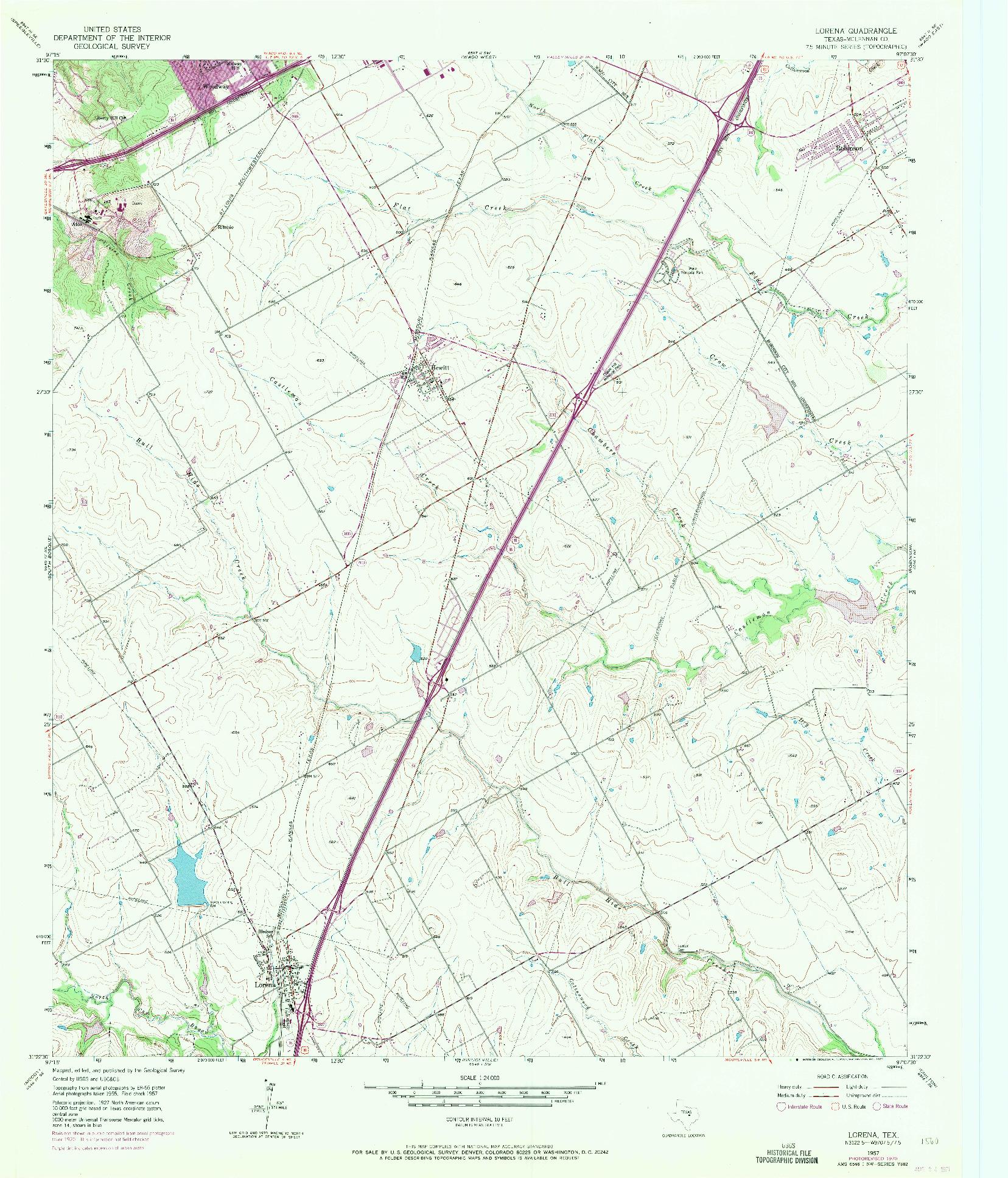 USGS 1:24000-SCALE QUADRANGLE FOR LORENA, TX 1957