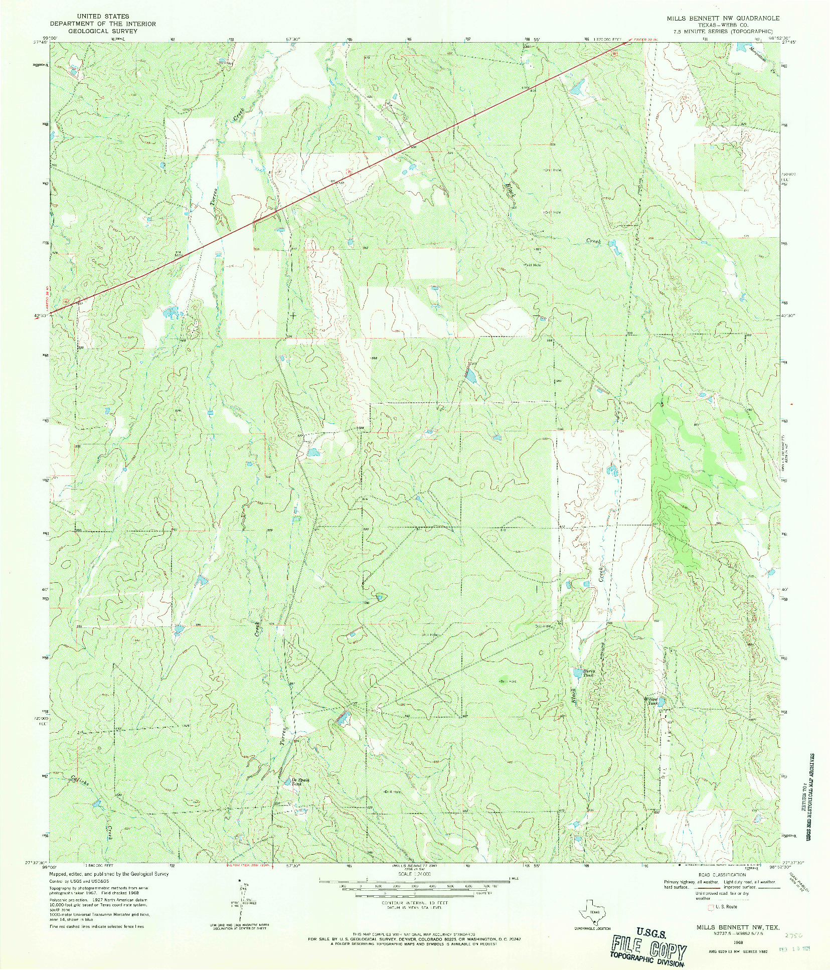 USGS 1:24000-SCALE QUADRANGLE FOR MILLS BENNETT NW, TX 1968