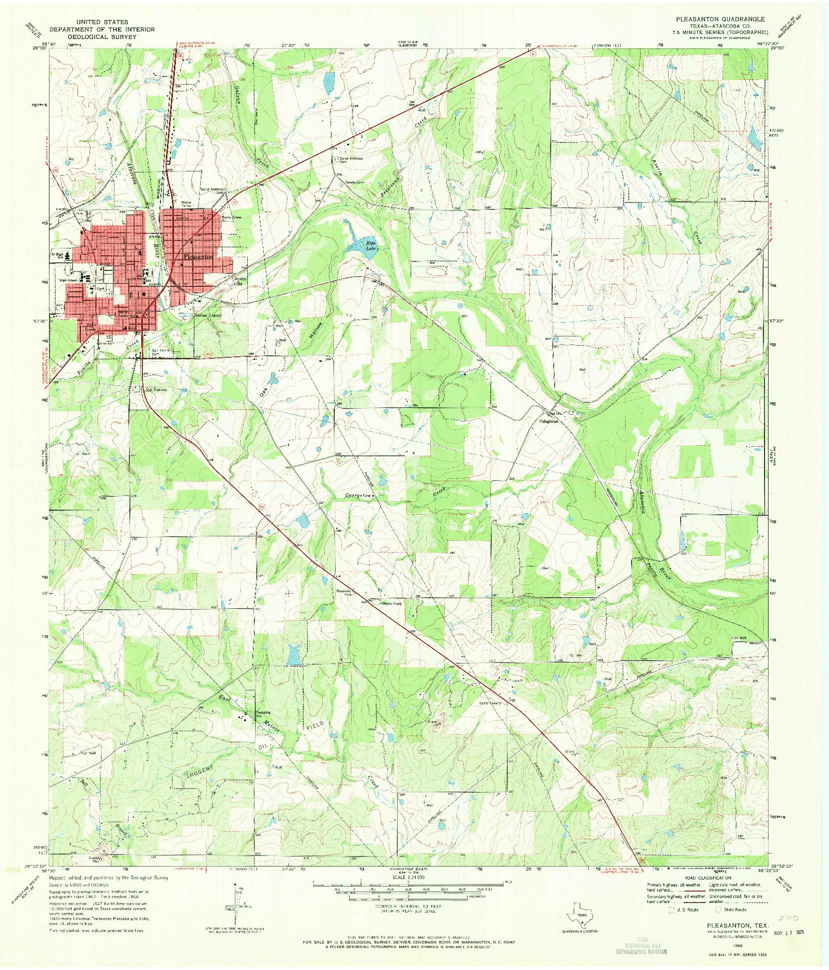 USGS 1:24000-SCALE QUADRANGLE FOR PLEASANTON, TX 1968