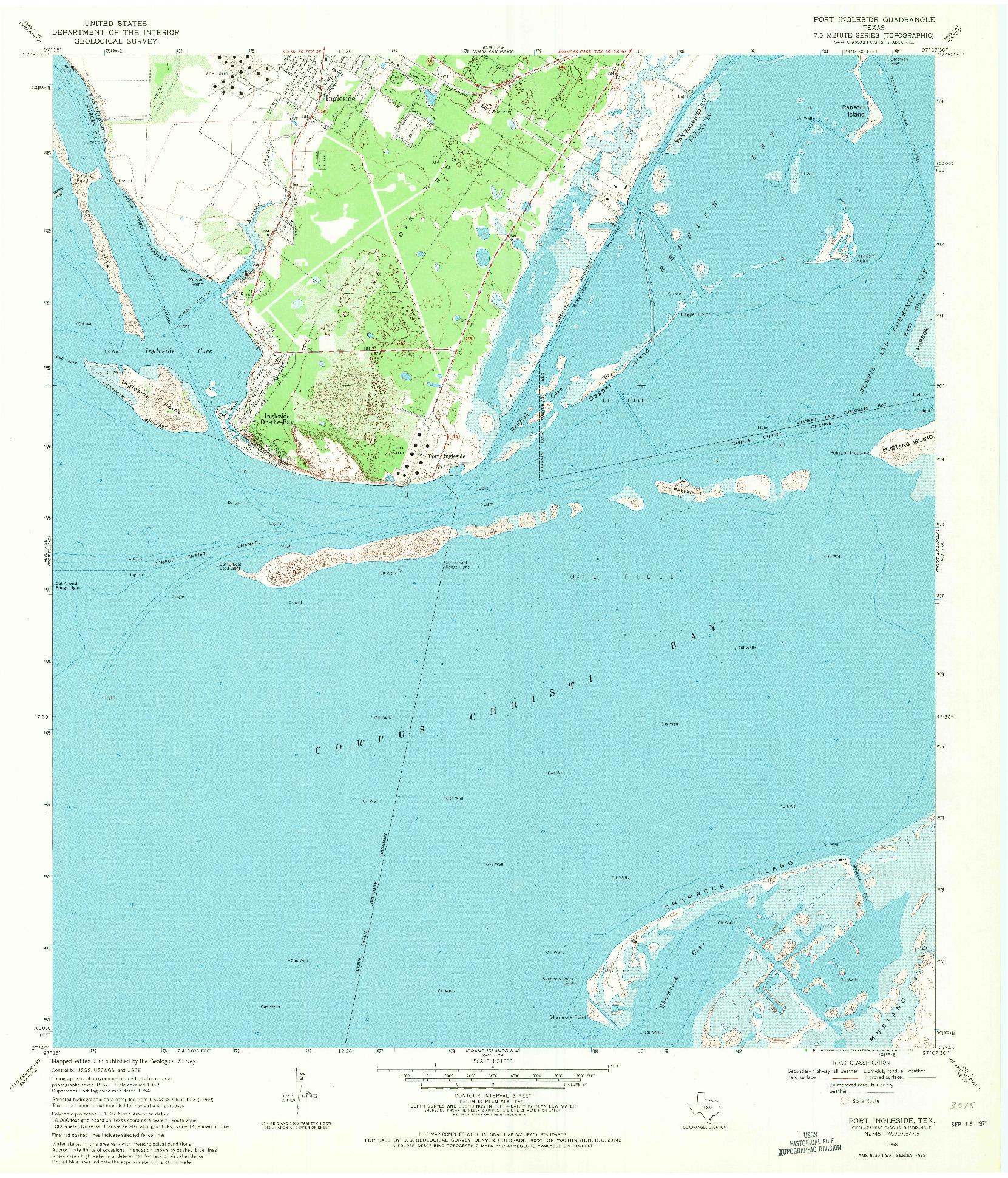 USGS 1:24000-SCALE QUADRANGLE FOR PORT INGLESIDE, TX 1968