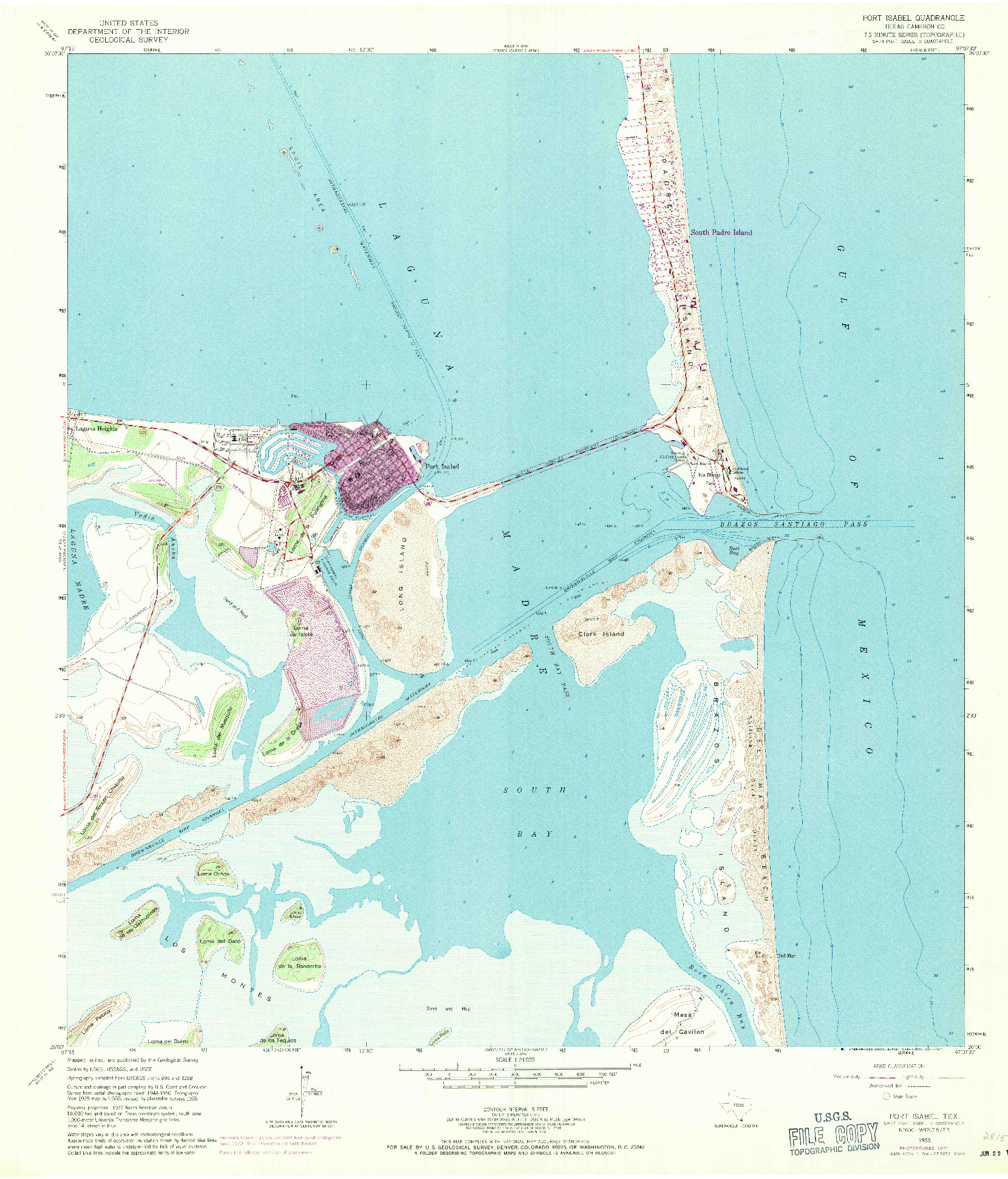 USGS 1:24000-SCALE QUADRANGLE FOR PORT ISABEL, TX 1955
