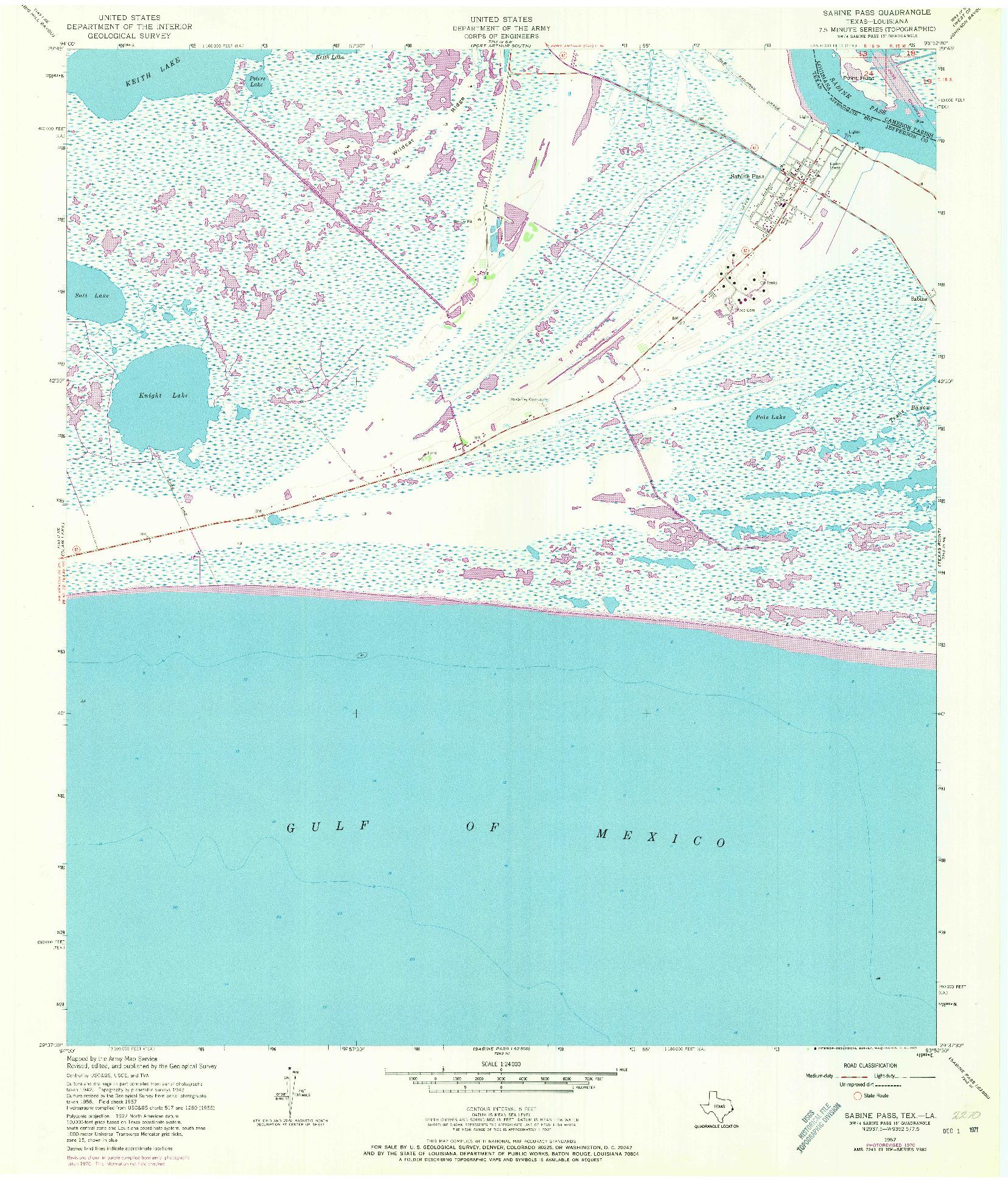 USGS 1:24000-SCALE QUADRANGLE FOR SABINE PASS, TX 1957