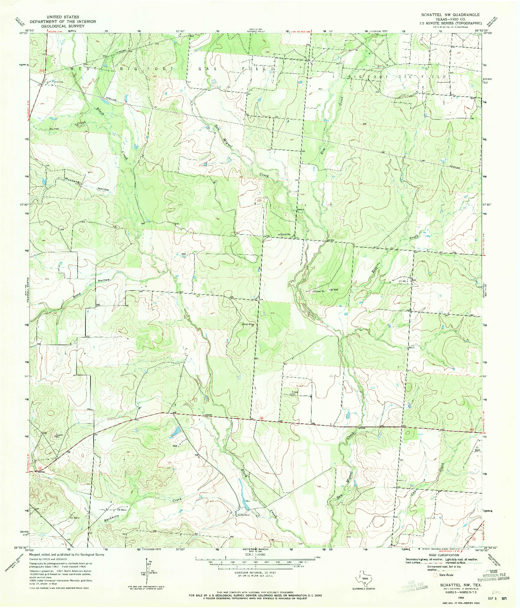 USGS 1:24000-SCALE QUADRANGLE FOR SCHATTEL NW, TX 1968