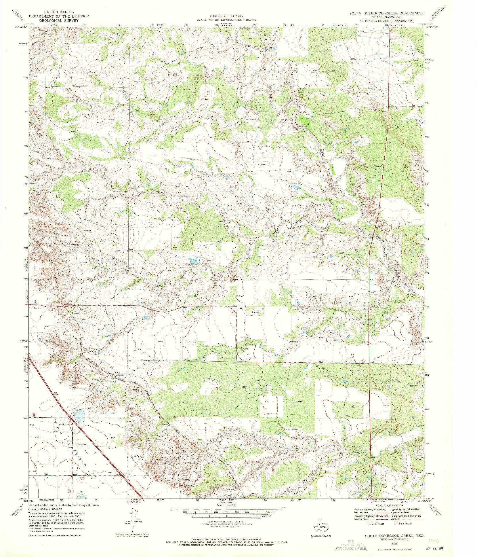 USGS 1:24000-SCALE QUADRANGLE FOR SOUTH DOKEGOOD CREEK, TX 1968