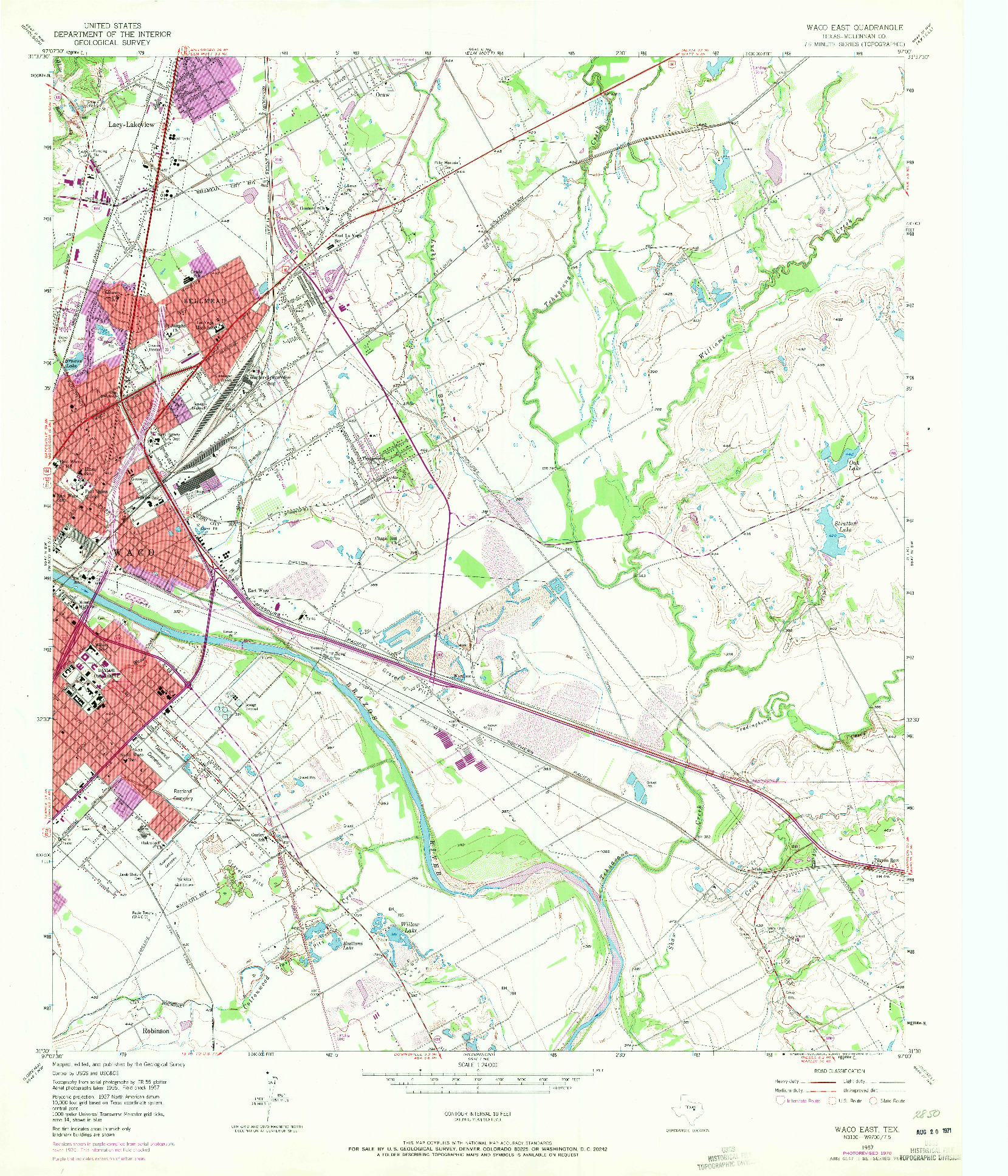 USGS 1:24000-SCALE QUADRANGLE FOR WACO EAST, TX 1957