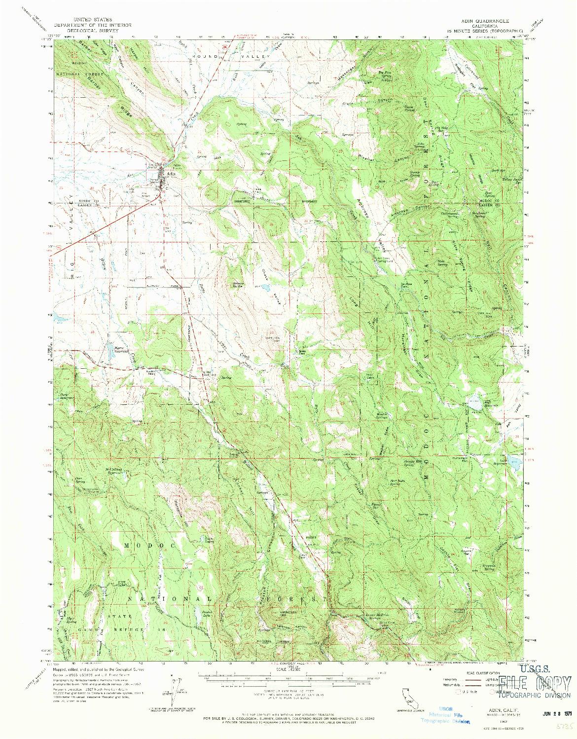 USGS 1:62500-SCALE QUADRANGLE FOR ADIN, CA 1962