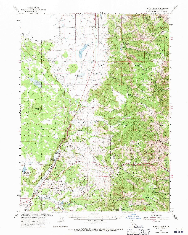 USGS 1:62500-SCALE QUADRANGLE FOR DAVIS CREEK, CA 1962