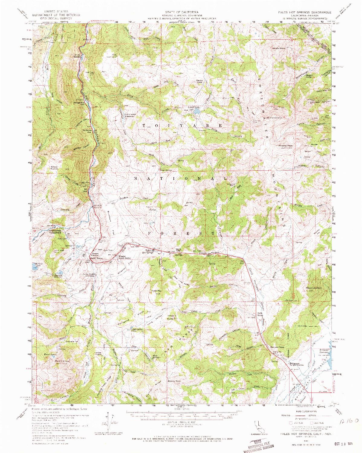 USGS 1:62500-SCALE QUADRANGLE FOR FALES HOT SPRINGS, CA 1956