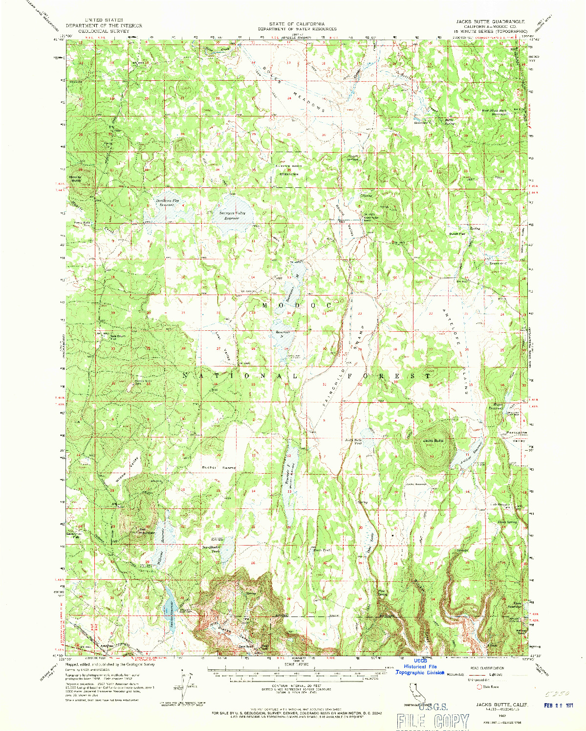USGS 1:62500-SCALE QUADRANGLE FOR JACKS BUTTE, CA 1962