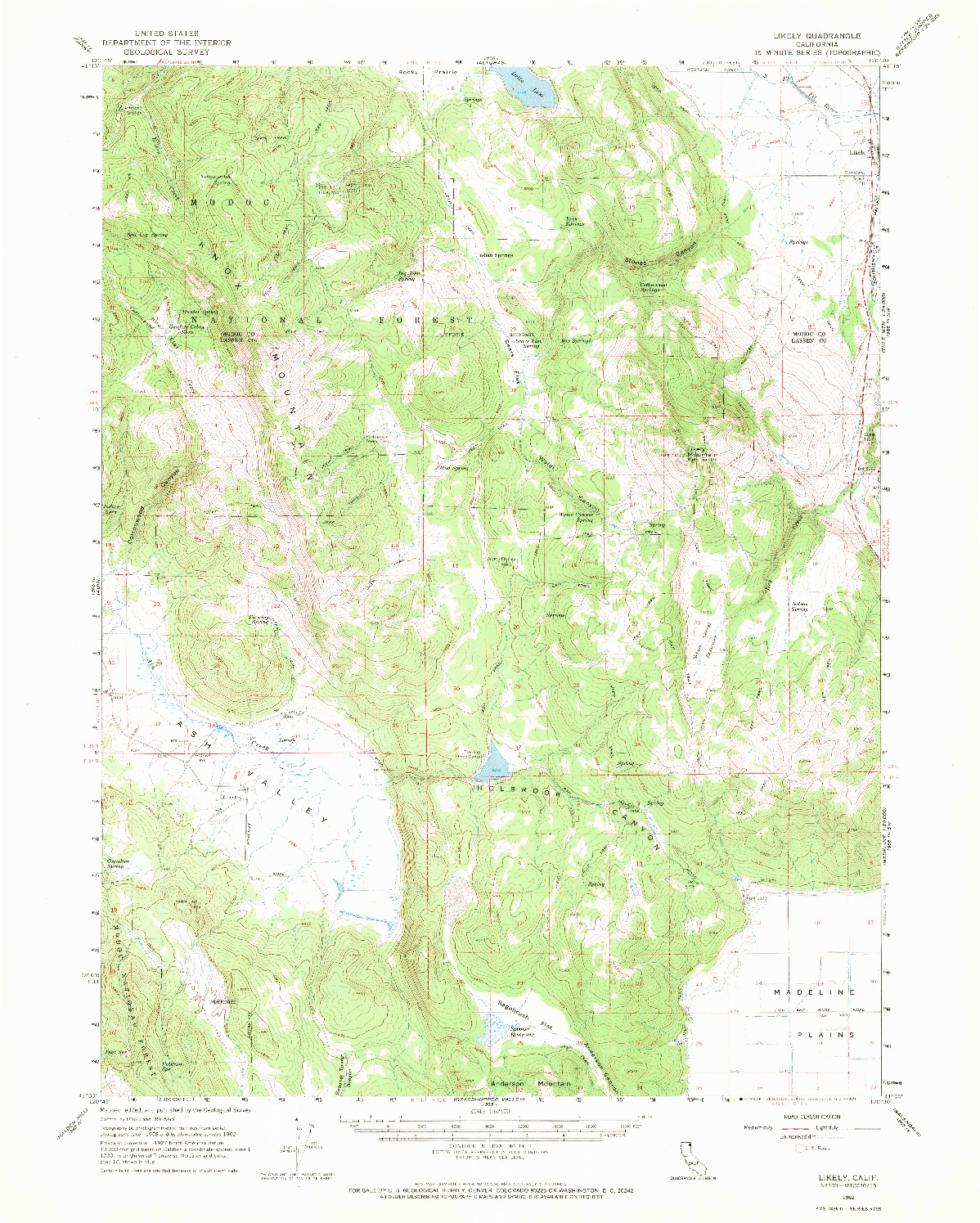 USGS 1:62500-SCALE QUADRANGLE FOR LIKELY, CA 1962