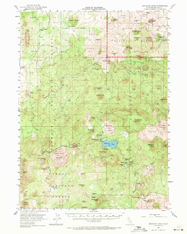 USGS 1:62500-SCALE QUADRANGLE FOR MEDICINE LAKE, CA 1952