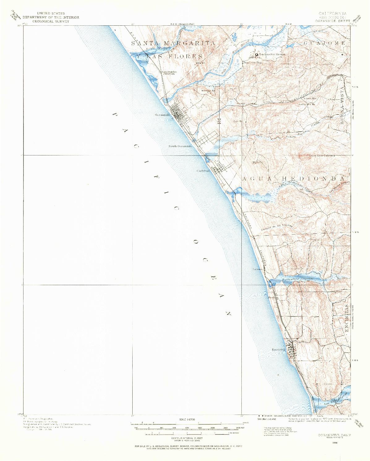 USGS 1:62500-SCALE QUADRANGLE FOR OCEANSIDE, CA 1898