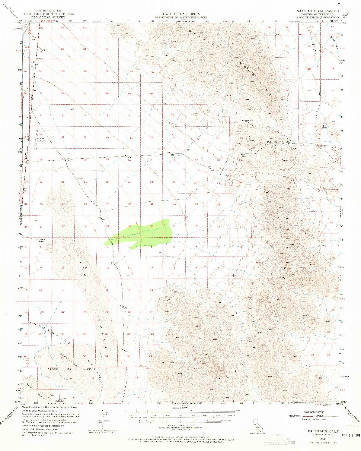 USGS 1:62500-SCALE QUADRANGLE FOR PALEN MOUNTAINS, CA 1952