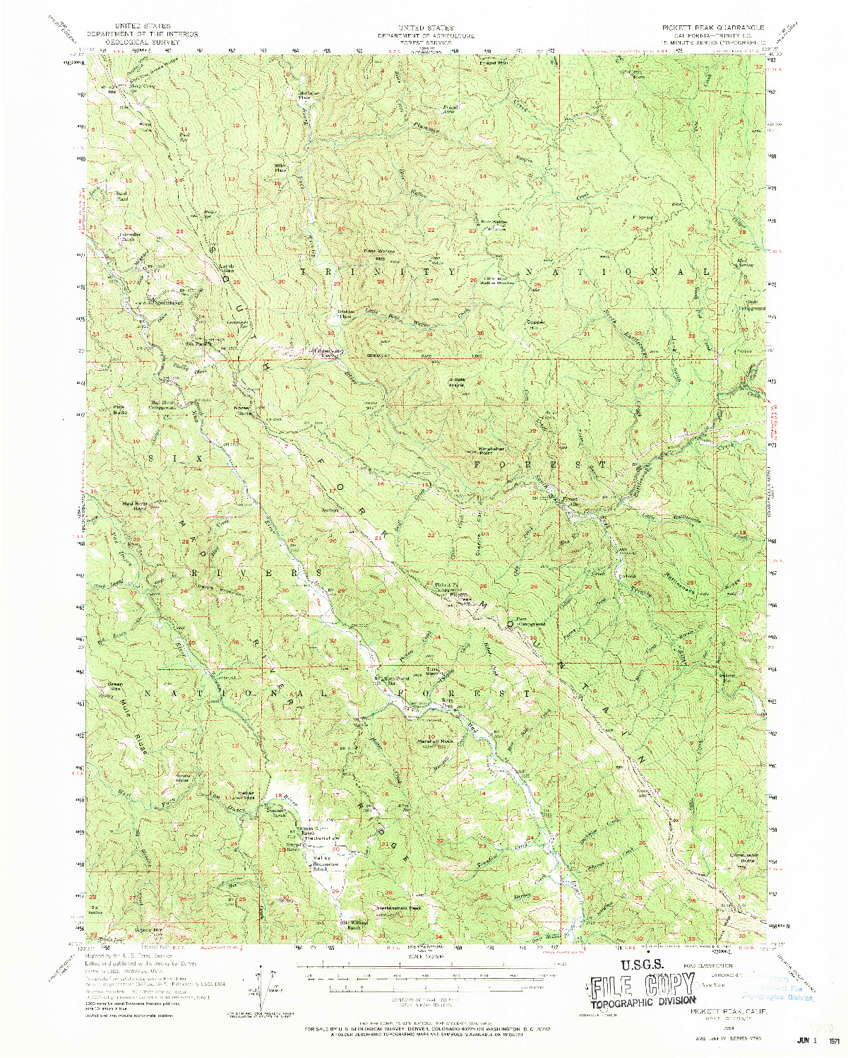 USGS 1:62500-SCALE QUADRANGLE FOR PICKETT PEAK, CA 1954