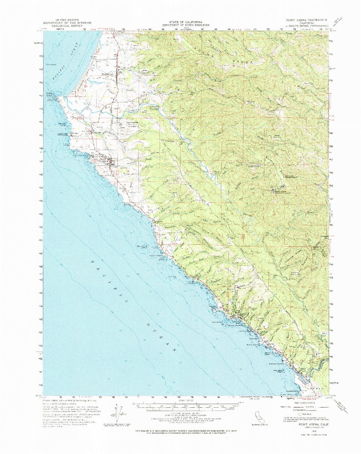 USGS 1:62500-SCALE QUADRANGLE FOR POINT ARENA, CA 1960