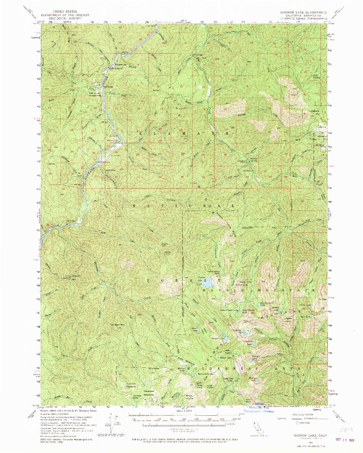 USGS 1:62500-SCALE QUADRANGLE FOR UKONOM LAKE, CA 1955