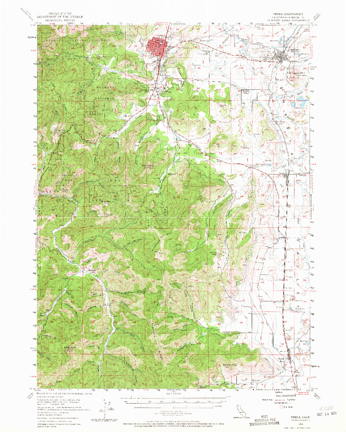 USGS 1:62500-SCALE QUADRANGLE FOR YREKA, CA 1954